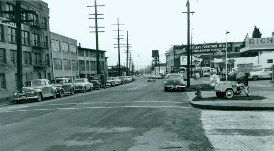 SW Macadam Ave looking south from Mitchell Street, Feb. 10, 1954:  A2005-005.324.10