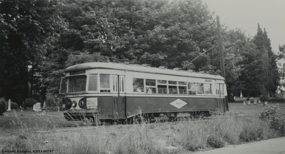 View of Car 804 at Lone Fir Cemetery, 1948: A2011-007.97