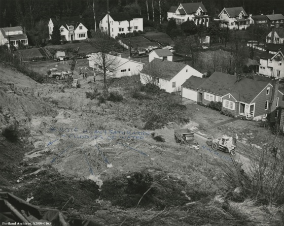 Landslide at 3400 NW Savier Street, March 15, 1960: A2009-016.9
