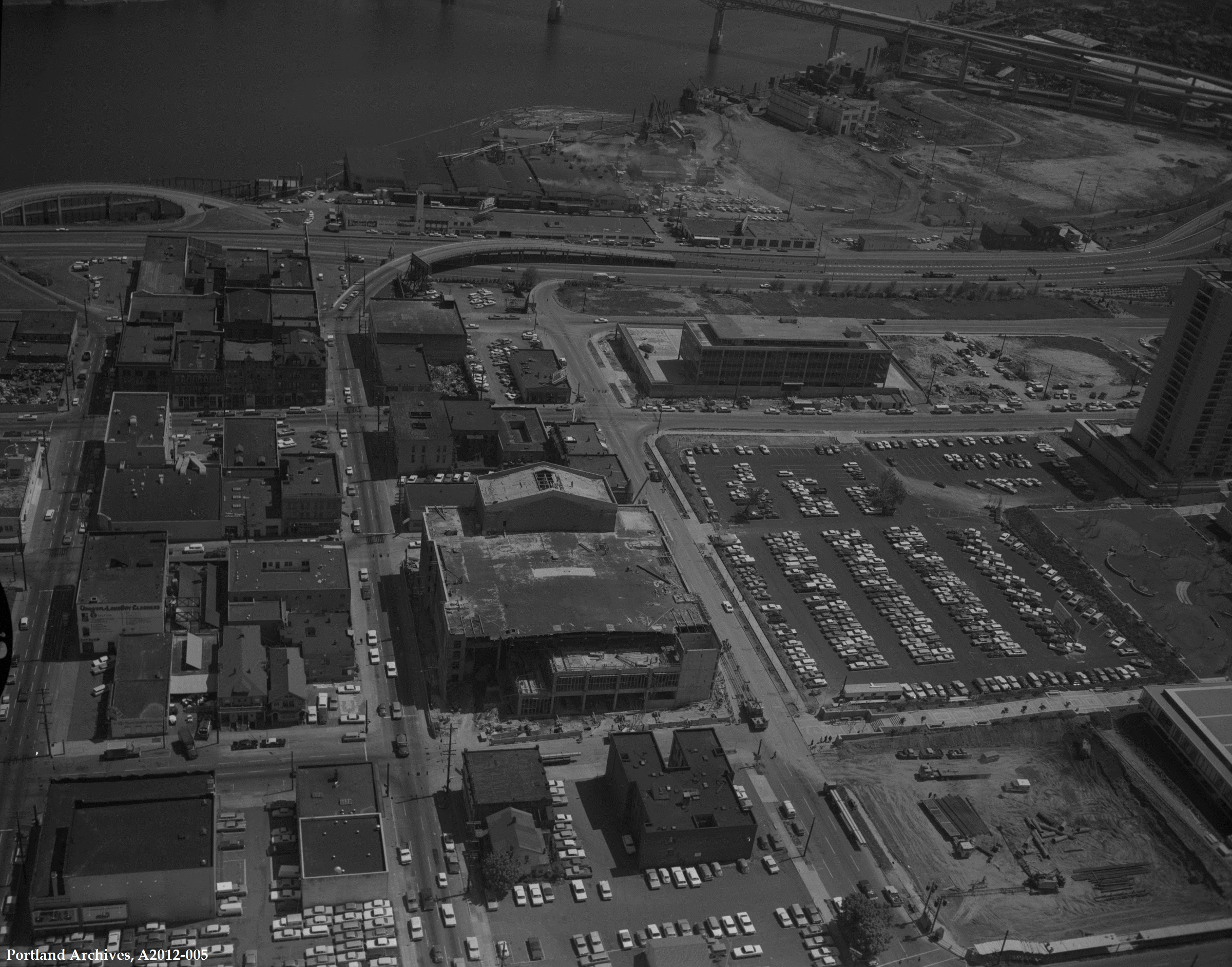 Civic Auditorium and surrounding area  includes view of Willamette River, May 8, 1967: A2012-005