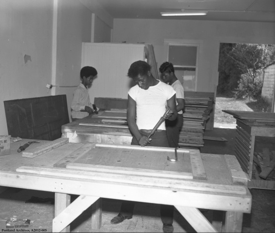 Young men learning woodworking as part of Mayor's Youth Employment Program Summer '70, August 11, 1970: A2012-005