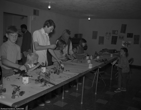 View of youths crafting as part of the Mayor's Youth Employment Program, Aug. 4, 1970: A2012-005