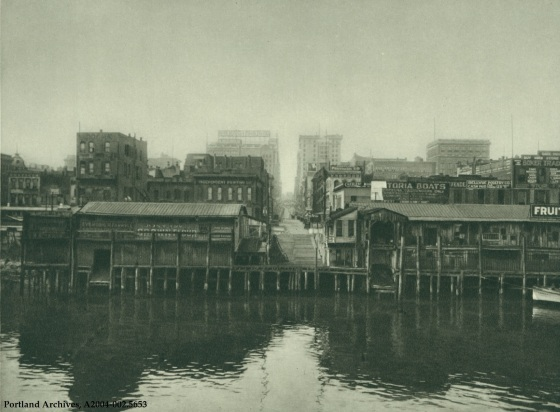 View of SW Washington Street looking west from the water, circa 1927: A2004-002.5653