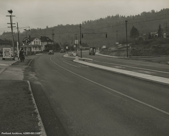 SW Barbur Blvd. looking southwest to SW Hamilton St., circa 1948: A2005-001.1105