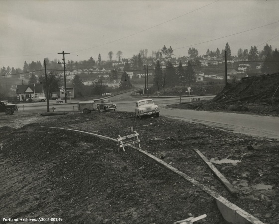 SW Barbur Blvd. at SW Terwilliger Blvd. looking south on Terwilliger, January 4, 1948: A2005-001.49
