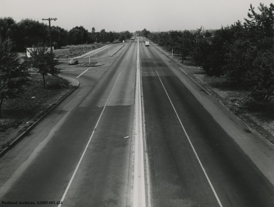 SE McLoughlin Blvd. north of SE Bybee Blvd. looking north, September 29, 1951: A2005-001.424