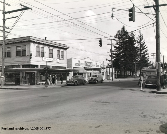 N Lombard Street and N Portsmouth Avenue looking northeast, 1945: A2005-001.377