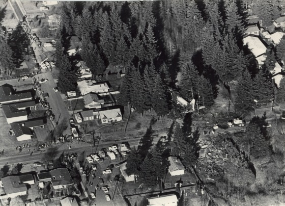 Remains of United Flight 173 which crashed across E Burnside, December 28th, 1978