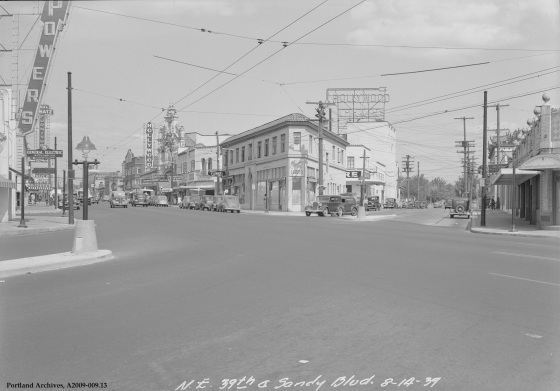 NE 39th Avenue and NE Sandy Boulevard, circa 1939: A2009-009.13