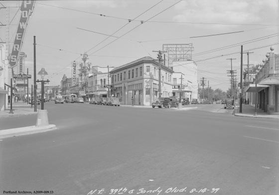 NE 39th Avenue and NE Sandy Boulevard, circa 1939: A2009-009.13