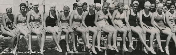 Bathing beauties at Pier Park pool, June 25, 1941: A2001-045.666