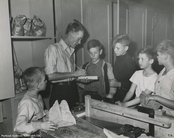 Boys in woodwork club with teacher. circa 1944: A2001-025.728