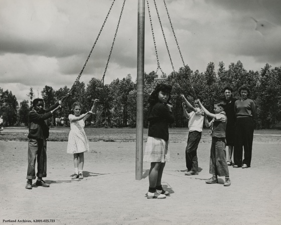 Vanport children gathered around maypole playground structure, May 22, 1946: A2001-025.723