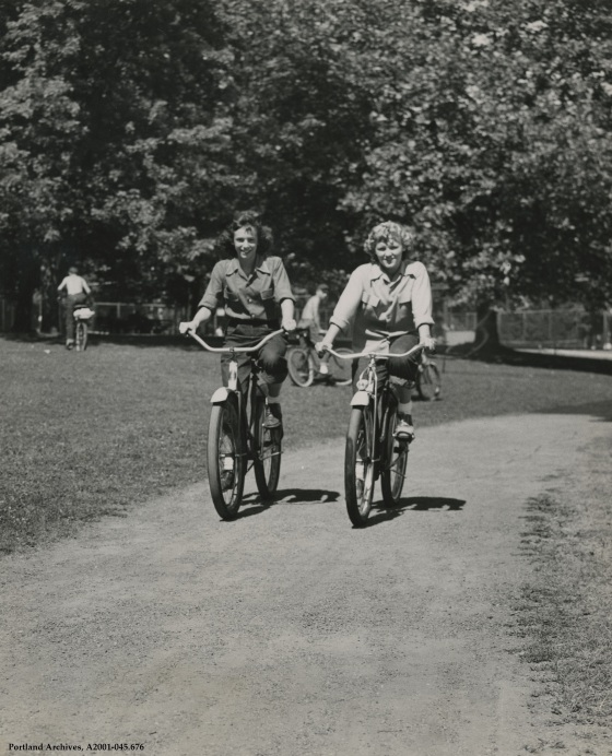 Bicycling through Grant Park, circa 1955: A2001-045.676