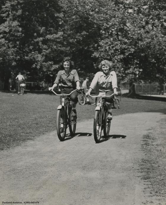 Bicycling through Grant Park, circa 1955: A2001-045.676