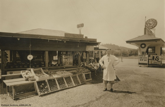 Exterior view of produce stand on SE Divison Street near SE 82nd Avenue, circa 1930: A2008-001.70