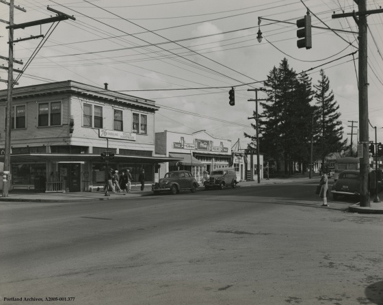 N Lombard Street and N Portsmouth Avenue looking northeast, March 31, 1945: A2005-001.377
