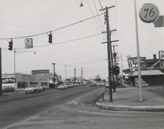 N Interstate Ave. and Shaver St., signal remodeling, looking north, February 7, 1963: A2005-001.336