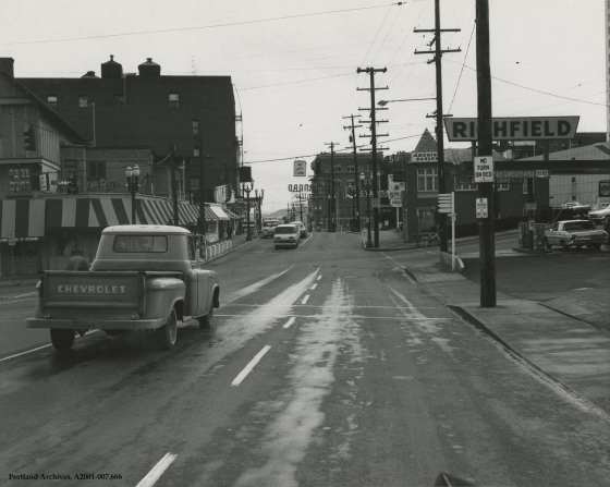 Looking east from W Burnside towards SW Vista Avenue, April 6, 1967: A2001-007.666