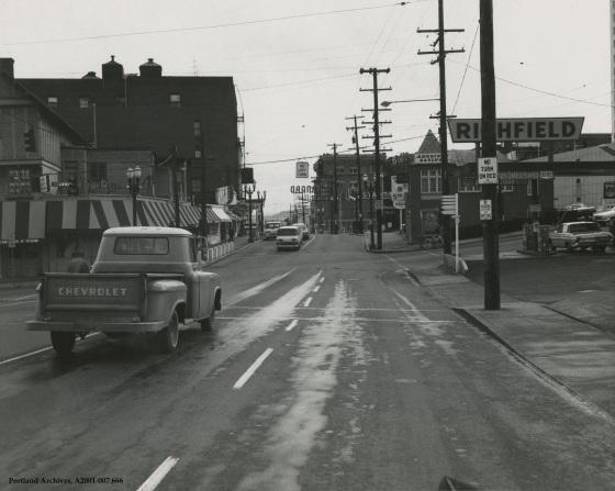 Looking east from W Burnside towards SW Vista Avenue, April 6, 1967: A2001-007.666