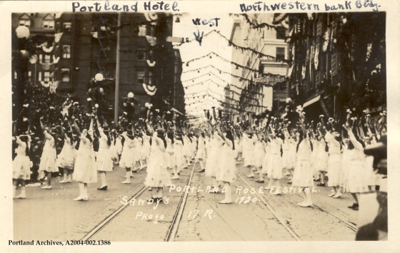 Activities during the Rose Festival parade, between the Portland Hotel and the Northwestern Bank, June 23, 1920: A2004-002.1386