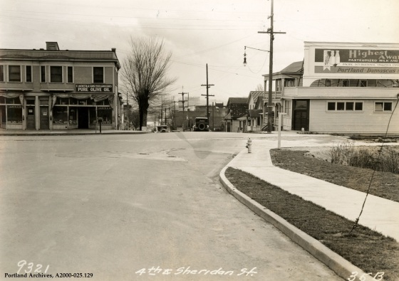 The corner of SW 4th Avenue and SW Sheridan Street, 1931: A2000-025.129