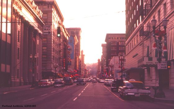 SW Broadway looking south, 1960: A2010-003
