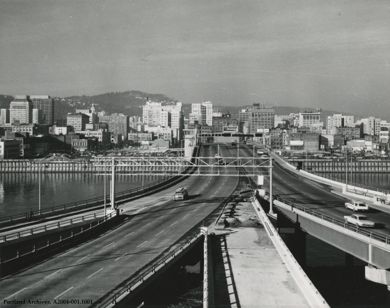 Morrison Bridge looking west, 1963: A2004-001.1001