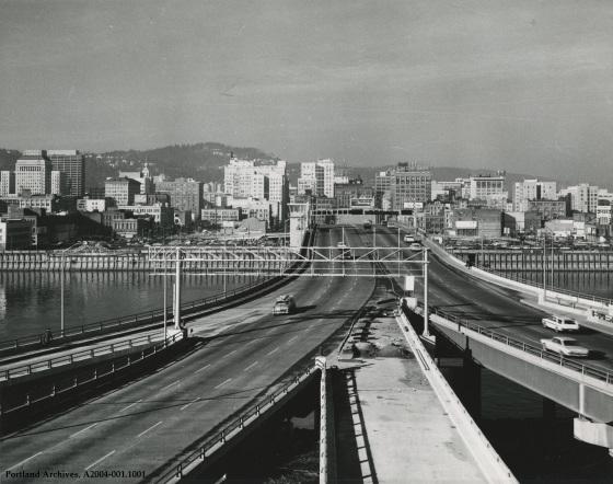 Morrison Bridge looking west, 1963: A2004-001.1001