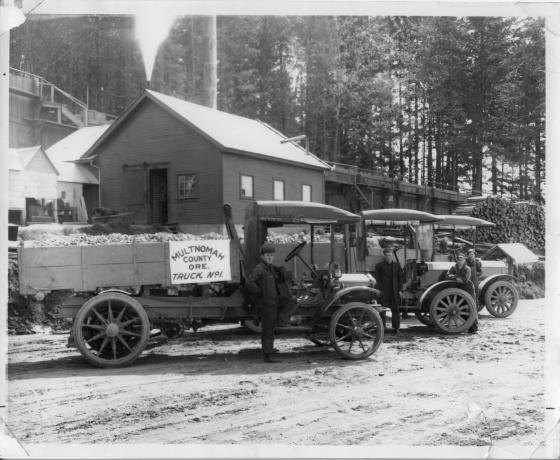 County road crew trucks, circa 1920