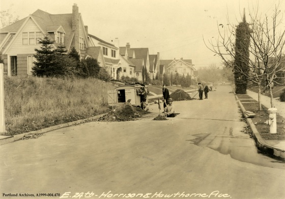 Harrison and Hawthorne Boulevard sewer repair, SE 24th Avenue, circa 1932: A1999-004.470