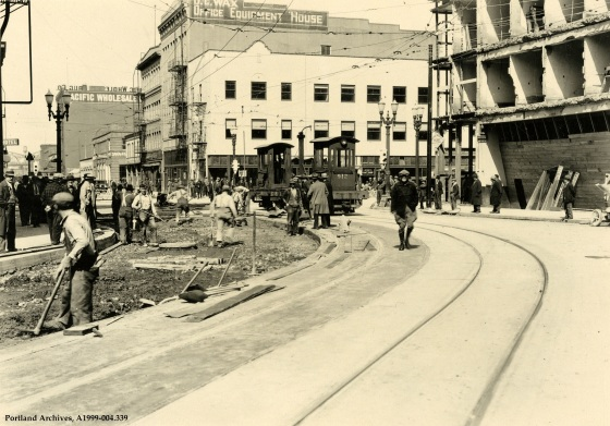 Street widening at SW 5th Avenue and W Burnside Street, circa 1932: A1999-004.339