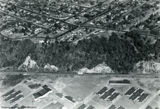 Aerial of Mocks Bottom Barrack, circa 1945: A2005-005.1416.9