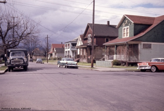 NE Graham Street and NE Rodney Avenue looking west, 1963