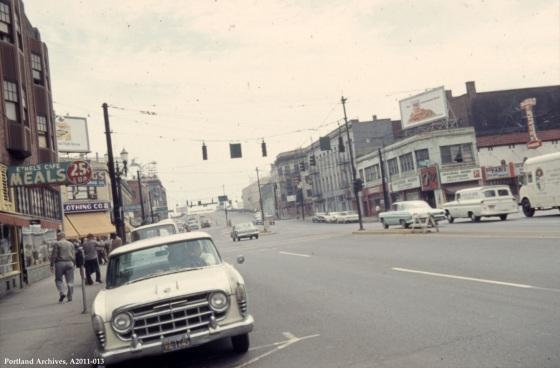 W Burnside Street near 3rd Avenue, 1965: A2011-013