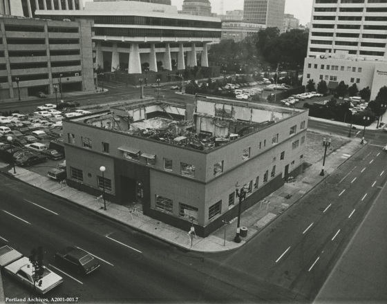 Demolition of the building on block to house the KOIN Center, 1979: A2001-001.7