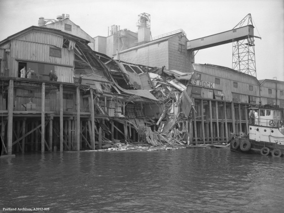City of Portland Archives, Oregon: Exterior view of Centennial Mills from the Willamette, A2012-005, 1965