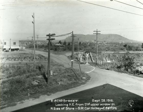 City of Portland Archives, Oregon, NE 82nd Ave looking north to Rocky Butte from Halsey, A2005-005, 1916