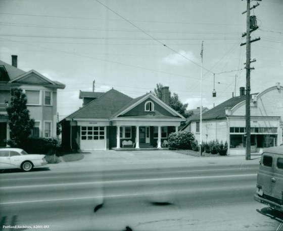 City of Portland Archives, Oregon: Exterior of former Bungalow Fire Station 14, A2001-083, 1961