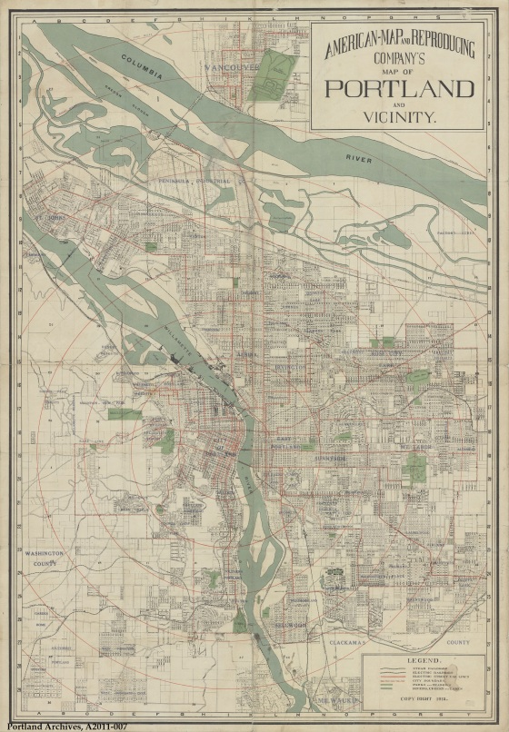 City of Portland Archives, Map of Portland and Vicinity, A2011-007, 1912