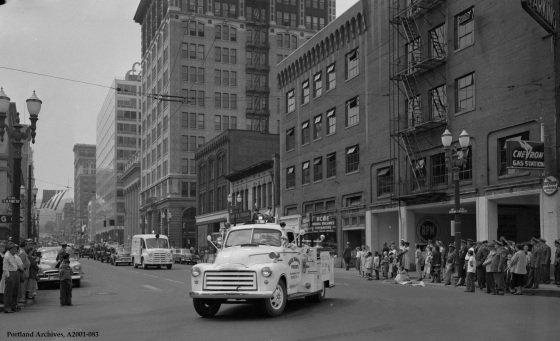 City of Portland Archives, Oregon: Parade at SW 6th Avenue and SW Pine Street with Errol Heights engine, A2001-083, 1955