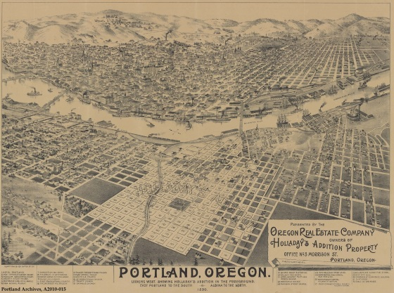 City of Portland Archives, Oregon, Birdsye view from East Portland with Holladay's Addition (digital only), A2010-015, 1890
