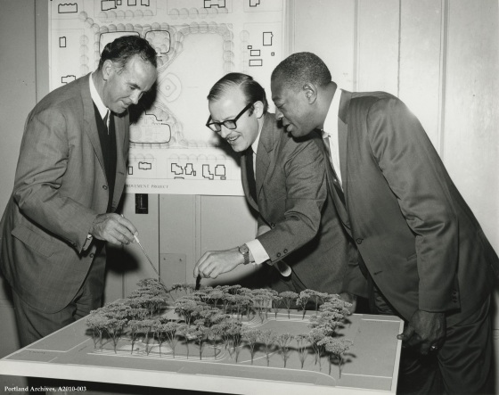 City of Portland Archives, Oregon, John Kenward, Robert Perron and Herman Plummer, ANIP project manager, with model of Unthank Park, A2010-003, circa 1963