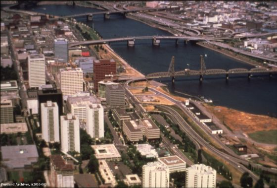 City of Portland Archives, Oregon, Aerial of waterfront taken from the southwest looking northeast_A2010-003, circa 1978