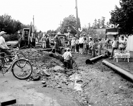 City of Portland Archives, Oregon, Main break at NE 70th Ave. and NE Prescott St., A2012-005, 1962