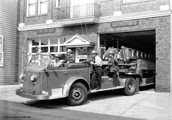 City of Portland Archives, Oregon, Crew on Truck 3 (1950 American LaFrance) leaving the station, 1950, A2001-083