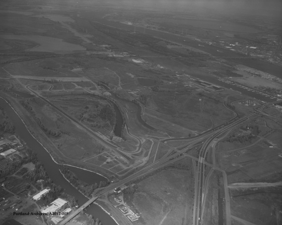 City of Portland Archives, Oregon, Aerial view of Portland International Raceway construction, A2012-005, 1971.