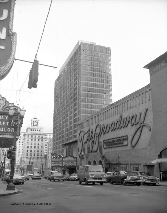 City of Portland Archives, Oregon, SW Broadway looking northeast toward the Hilton Hotel, SW Broadway looking northeast toward the Hilton Hotel, 1962.