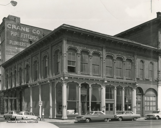 City of Portland Archives, Oregon, Velte's Home Furnishing on the corner of SW 1st Avenue and SW Ash Street, A2011-028, circa 1969.