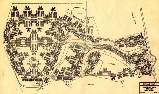City of Portland Archives, Oregon, Map of Vanport City, A2014-001, 1942.